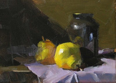 """""""Pears on Purple Drape --- Sold"""" original fine art by Qiang Huang"""