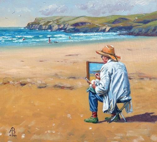 """""""Shhh!  Artist at work"""" original fine art by Alix Baker"""