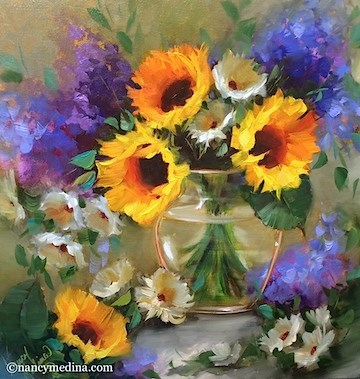 """Shining Through Sunflowers and a Tennessee Workshop - Flower Paintings by Nancy Medina"" original fine art by Nancy Medina"