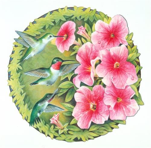 """Humming Birds"" original fine art by Cheryl Plautz"