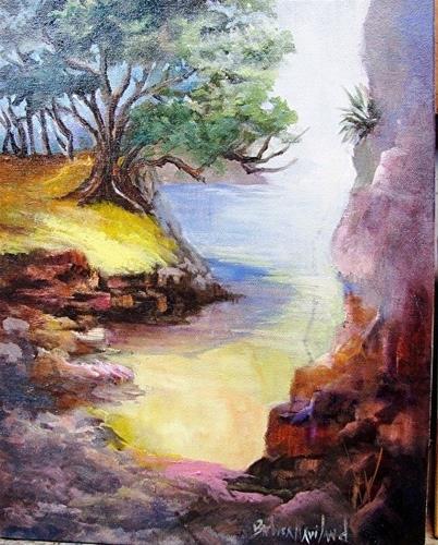 """""""A Beach Cove"""" original fine art by Barbara Haviland"""