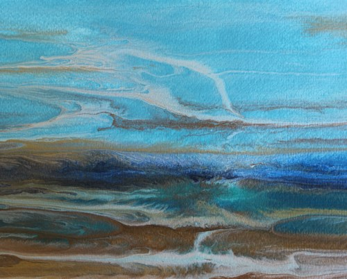 """Abstract Seascape,Coastal Living Decor,Beach Art Beautiful Storm -Study 1 by Colorado Contemporary"" original fine art by Kimberly Conrad"