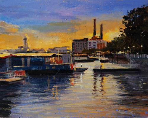 """Evening Light Chelsea Riverside (19) Chelsea Marathon"" original fine art by Adebanji Alade"