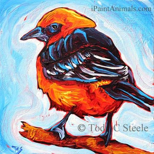 """""""A Friend in High Places - 1 Bird Painting by Tod C Steele"""" original fine art by Tod Steele"""
