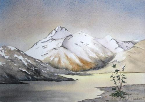 """Mountain Lake 1"" original fine art by Horst Berlow"