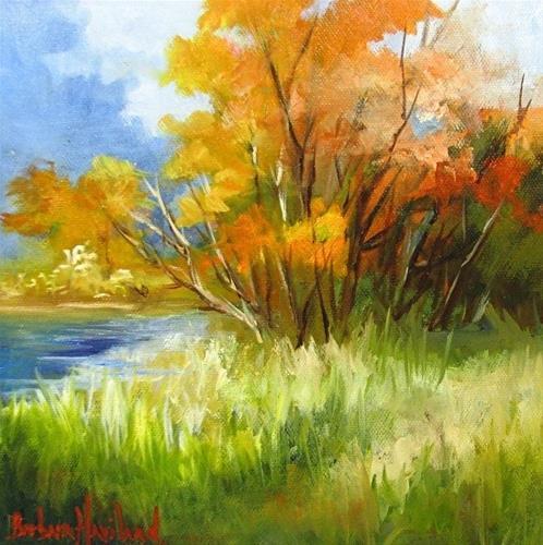 """Autumn Valley 9x 9,oils, landscape,$100.+shipping,Barbara Haviland"" original fine art by Barbara Haviland"