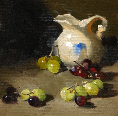 """Queue of Grapes"" original fine art by Qiang Huang"