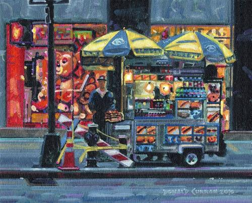 """Hot Dog Vendor"" original fine art by Donald Curran"