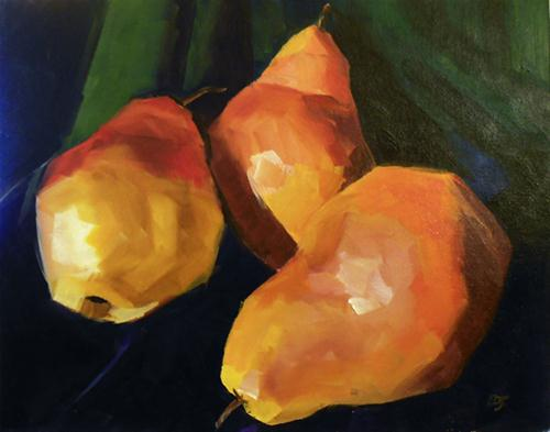 """#31 - Three Pears"" original fine art by Elizabeth Dawn Johnston"