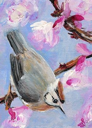 """3090 - SPRING VISIT - ACEO DUO Series"" original fine art by Sea Dean"