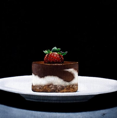 """Strawberry Chocolate Cheesecake"" original fine art by Jelaine Faunce"