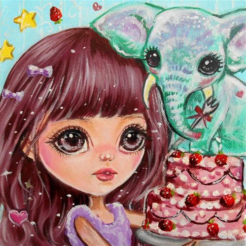 """""""Sweet-tooth Cake Topper"""" original fine art by Nicole Chen"""