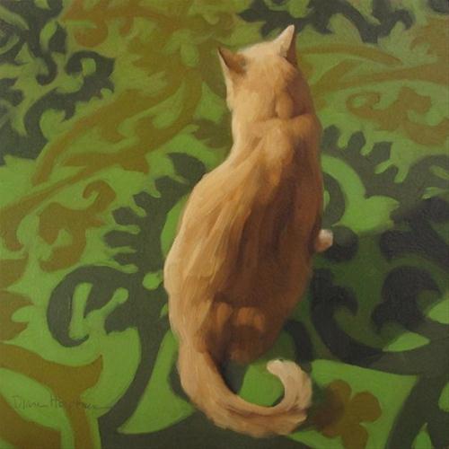 """Spring Cat white orange cat on green pattern"" original fine art by Diane Hoeptner"