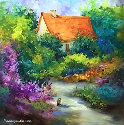 """The Wanderer - Romantic French Kitty - Paintings by Nancy Medina Art"" original fine art by Nancy Medina"