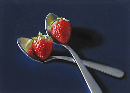 """Spoons with Strawberries"" original fine art by Nance Danforth"