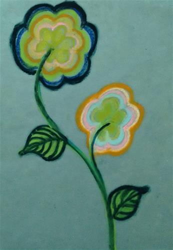 """Green Flower"" original fine art by Adéla Svobodová"