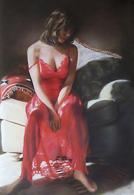 """Lady in Red"" original fine art by Denise Henley"