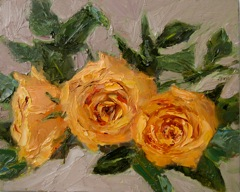 """Flower Study 1 Peach Roses"" original fine art by Pat Fiorello"