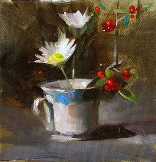 """Ikebana in a Cup --- Sold"" original fine art by Qiang Huang"