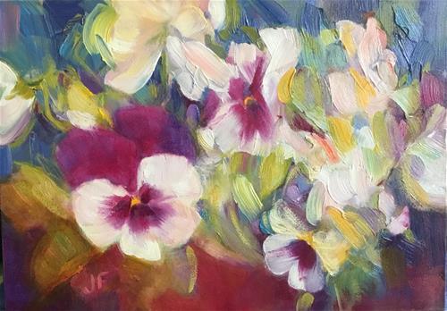 """Happy Pansies"" original fine art by Jean Fitzgerald"