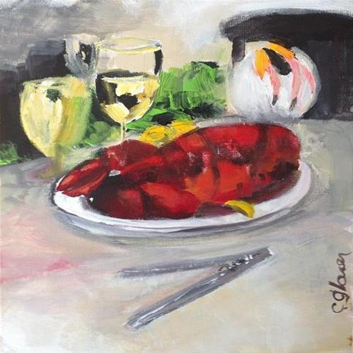 """Lobstah Dinnah"" original fine art by christina glaser"