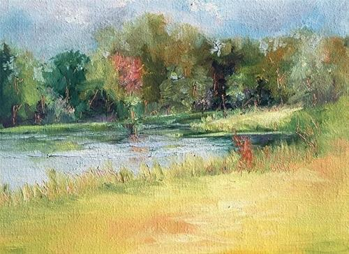 """Camping & Painting Adventures! Indiana, Early Autumn_6 x 8 Oil, Landscape"" original fine art by Donna Pierce-Clark"