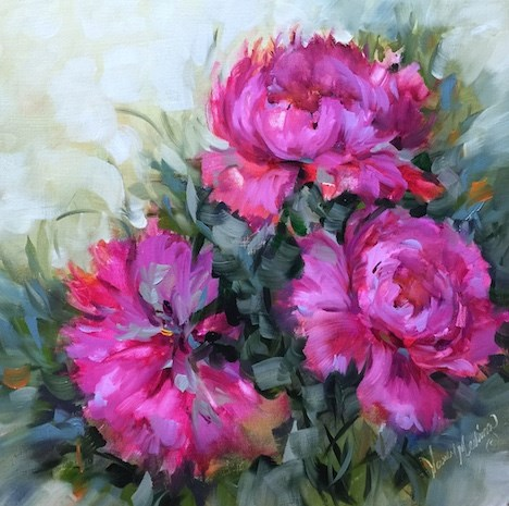 """Step by Step Peonies and Seven Days of Giveaways"" original fine art by Nancy Medina"
