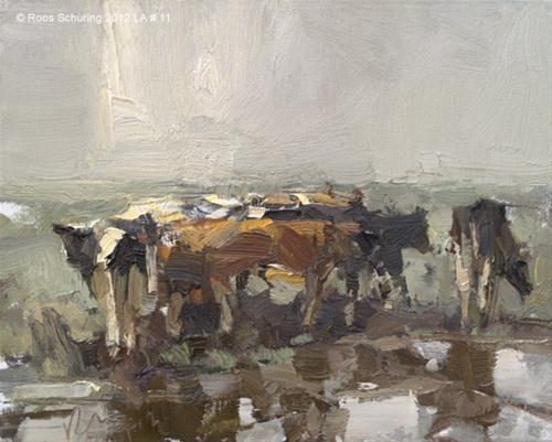 """Landscape autumn #11 Grateful - Young cows - Koeien (Sold)"" original fine art by Roos Schuring"