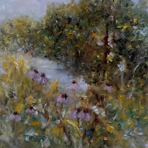 """""""Walking Along the Water"""" original fine art by Cathy Dykstra"""