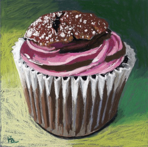 """""""pink frosted cupcake"""" original fine art by Ria Hills"""