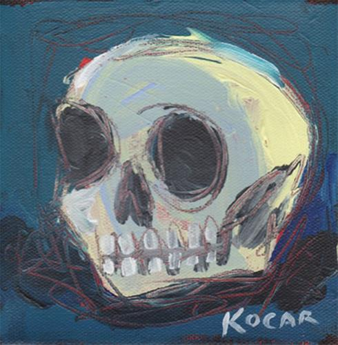 """Yellow Skull"" original fine art by George Kocar"