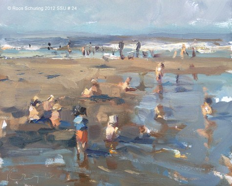 """Seascape summer # 23 Seaside crowded with children (sold)"" original fine art by Roos Schuring"