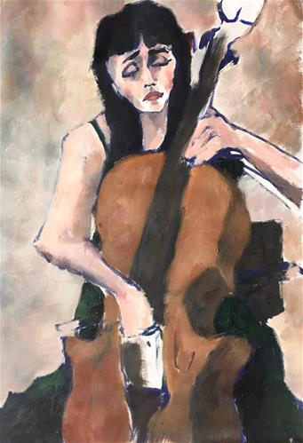 """Cellist at Curtis School of Music"" original fine art by Nava Judith"