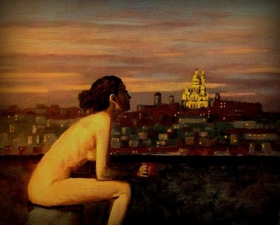 """Montmartre Rooftop Nude"" original fine art by David Larson Evans"