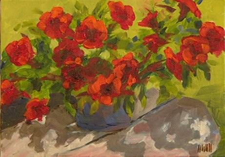 """Red Petunias"" original fine art by Mary McInnis"