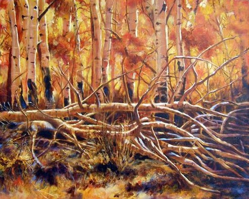 """Original Colorado Landscape Painting Bathed in Gold by Colorado Artist Nancee Jean Busse, Painter"" original fine art by Nancee Busse"