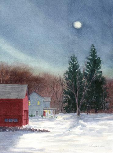 """Winter Moon"" original fine art by Vikki Bouffard"