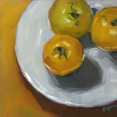"""Yellow Tomatoes 2 --- SOLD"" original fine art by Carol Marine"