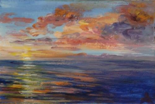"""3174 - Ocean Sunset"" original fine art by Sea Dean"