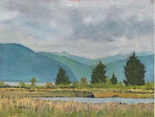 """Towards the River from Kim's"" original fine art by Carole Baker"