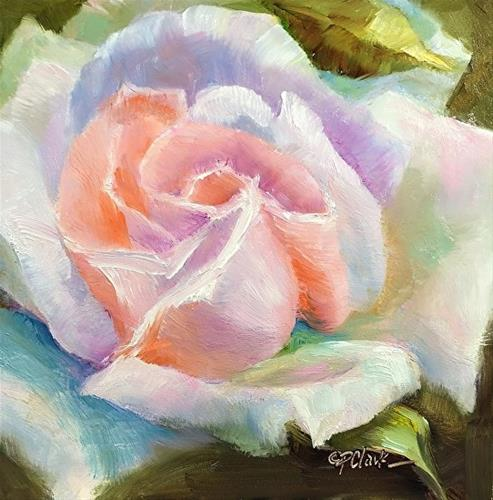 """PEACE ROSE, 6 x 6 Oil, Floral"" original fine art by Donna Pierce-Clark"