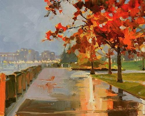 """Waterfront Park Portland city oil painting by Robin Weiss"" original fine art by Robin Weiss"