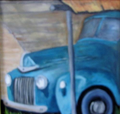 """Blue Truck miniature oil painting"" original fine art by Barbara Haviland"