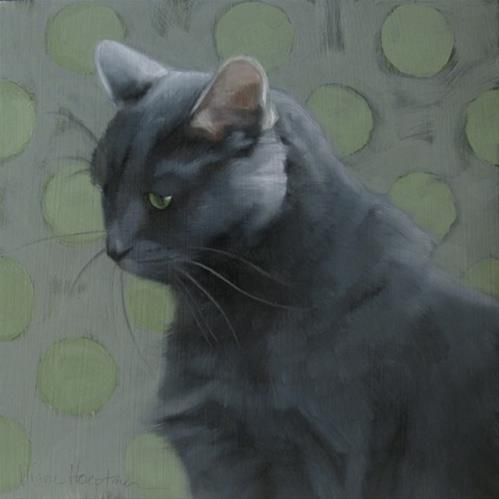 """Blue Coco and I will juror a show on CFAI.co"" original fine art by Diane Hoeptner"