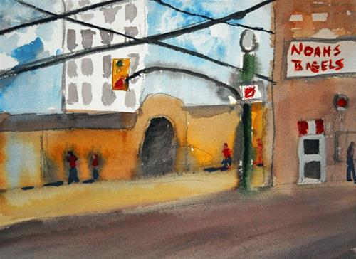 """Noah's Bagels"" original fine art by Donna Crosby"