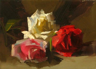 """Three Roses --- Sold"" original fine art by Qiang Huang"