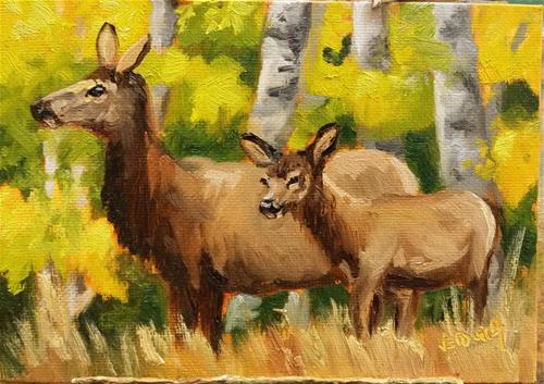 """Mom and Me-elk study"" original fine art by Veronica Brown"