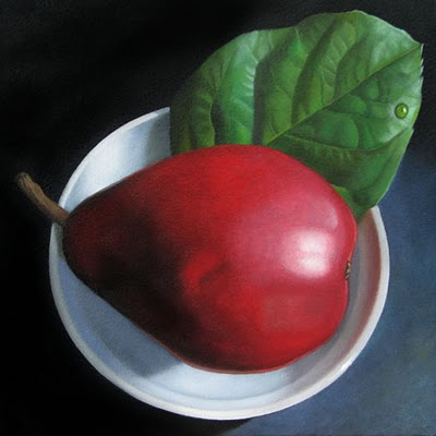 """Red Pear and Lemon Leaf  6x6"" original fine art by M Collier"