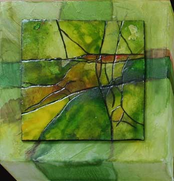 """Little Green Abstract"" original fine art by Kara Butler English"