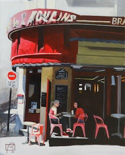"""Cafe des 2 Moulins"" original fine art by Andre Beaulieu"